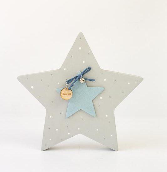 Ξυλινο αστέρι-μπλε