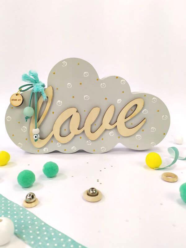 Ξύλινο συννεφάκι Love