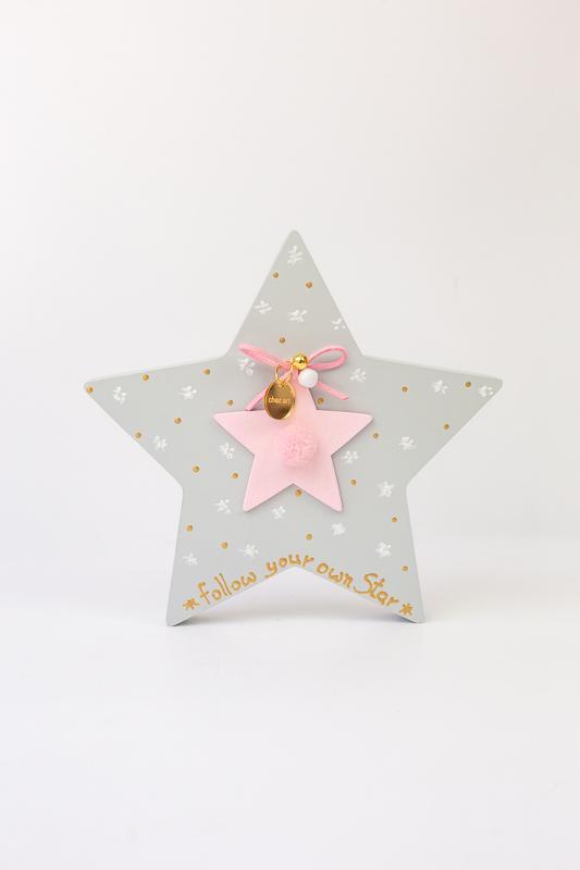 Ξυλινο αστέρι-ροζ